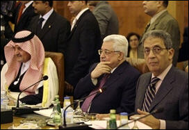 AL Secretary General Amr Moussa (r) Palestinian Authority Chairman Mahmoud Abbas (c) and Foreign Minister of Saudi Arabia Prince Saud