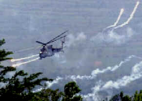 Helicopter gunship attacks rebel groups