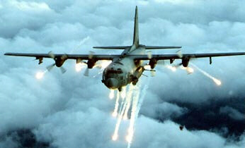 A U.S. aerial gunship fires on targets in Somalia