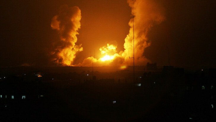 A ball of fire from Israeli airstrike in Rafah, Gaza on July 1, 2014