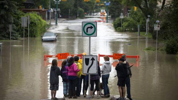 A flooded street in Calgary's Mission neighbourhood June 21, 2013