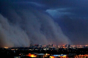 A giant dust storm covers Phoenix on July 5, 2011