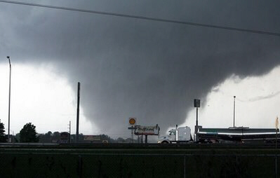 A massive tornado moves through Tuscaloosa, Ala