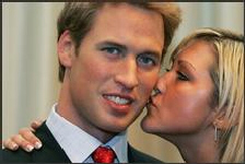 Britain's Prince William is kissed by admirer Jenny Reveley