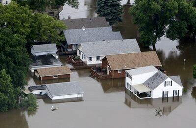 Aerial photo of flood waters June 24, 2011 in Minot, ND