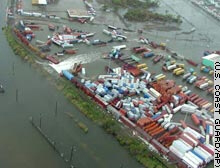 Aerial view of New Orleans' 9th Ward Friday, after rising waters caused by Hurricane Rita ran over the levee.
