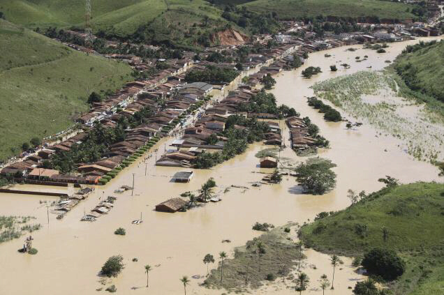 Aerial view of a flooded area of Jacuipe, in northeastern Brazil