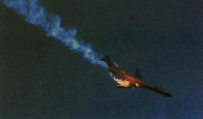 Airliner explodes in air