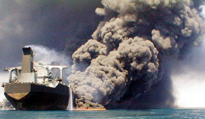Aircraft carrier ablaze in Red Sea