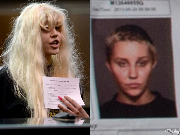 Amanda Bynes in court wearing crazy wig (L) and mug shot of Bynes with very short, cropped hair (R)