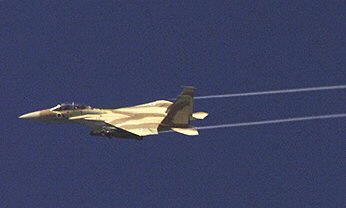 An Israeli F-15 flies over Syria