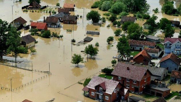 An aerial photo shows the flooding in Brck, Bosnia