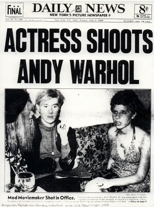 Andy Warhol shot by Theresa Solanas