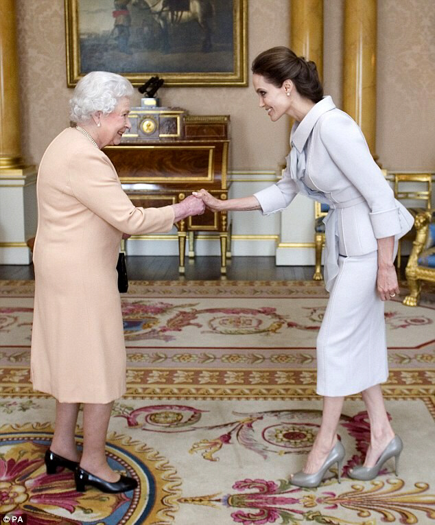 Angelina was made an honorary Dame by the Queen