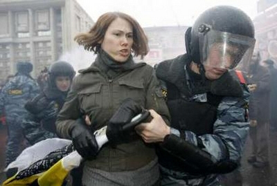 Anti-Medvedev protester detained