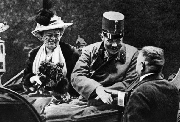 Last photo of Archduke Franz Ferdinand and Dutchess Sophie at Sarajevo prior to assassination. His death triggered World War I.