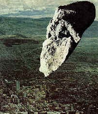 Asteroid Toutatis passing above Mediterranean city - Collage/Art © 1994-2000 by Michael McClellan