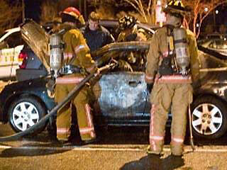 Auburn firefighters put out fire in Lauren A. Burk's car