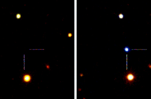 Before and after explosion, blue star [right] is new class of supernova