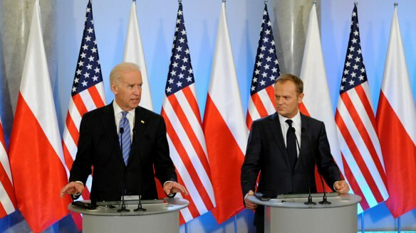 US Vice President Joe Biden in Poland with Prime Minister Donald Tusk