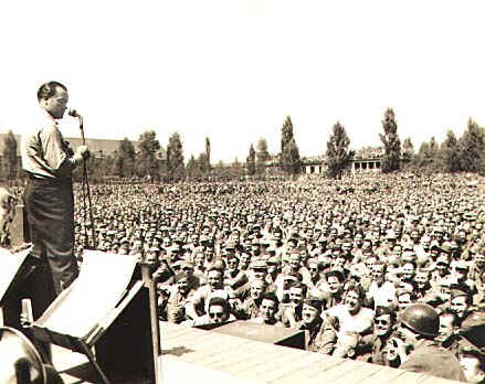 Bob Hope entertains US troops stationed in Germany