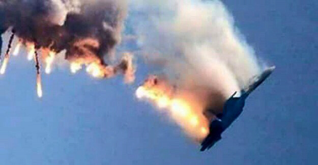 This image is actually of a Syrian jet being downed by Turkey. Wire services re-released it when a Russian jet was downed by Turkey. I guess we can use it to dramatize a U.S. jet being downed by Russia as well.