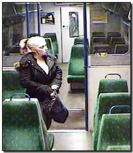 CCTV footage showing murdered prostitute Anneli Alderton on the 5.53pm train from Harwich to Colchester, Sunday December 3.