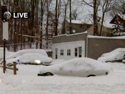 Cars were buried by the blizzard in Danbury, Conn