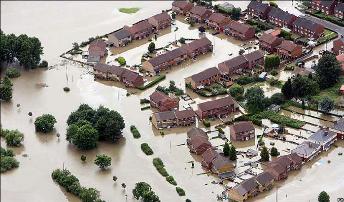 The village of Catcliffe near Sheffield is under water after heavy rain