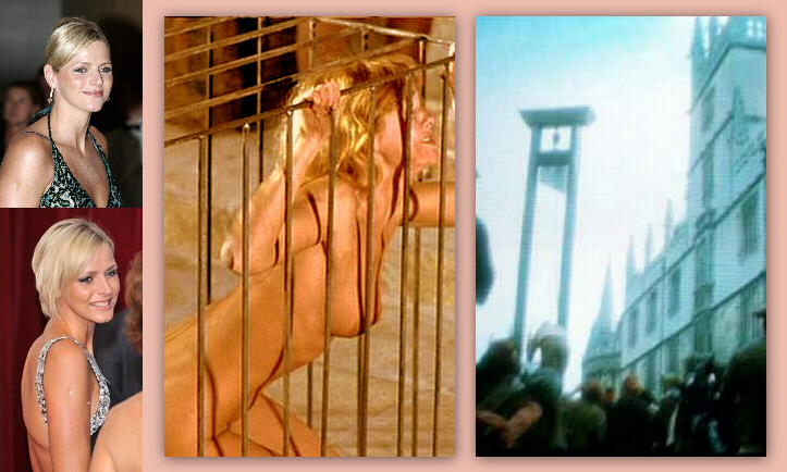 "Could Charlene Wittstock (insets at left) be ""the great golden one"" who is dragged naked through the streets of Monaco in a metal cage to an awaiting guillotine?"