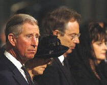 Charles and Camilla attend a memorial service for the Queen. The former PM Tony Blair and his wife also attend.