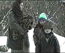 Homeless ethnic Albanian woman and her children