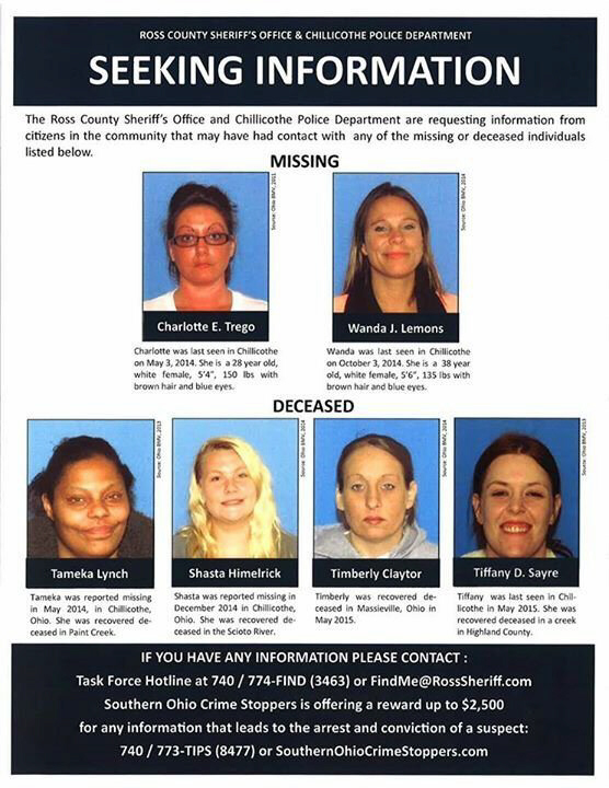 Chillicothe, OH has a serial killer of possibly 6 women