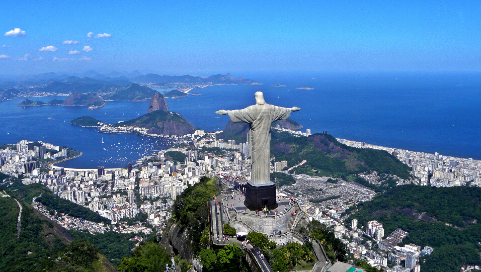 The colossal 'Christ the Redeemer' statue at the peak of Corcovado mountain in Rio de Janeiro