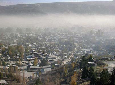 City of Esquel in neighbouring Argentina covered in ash
