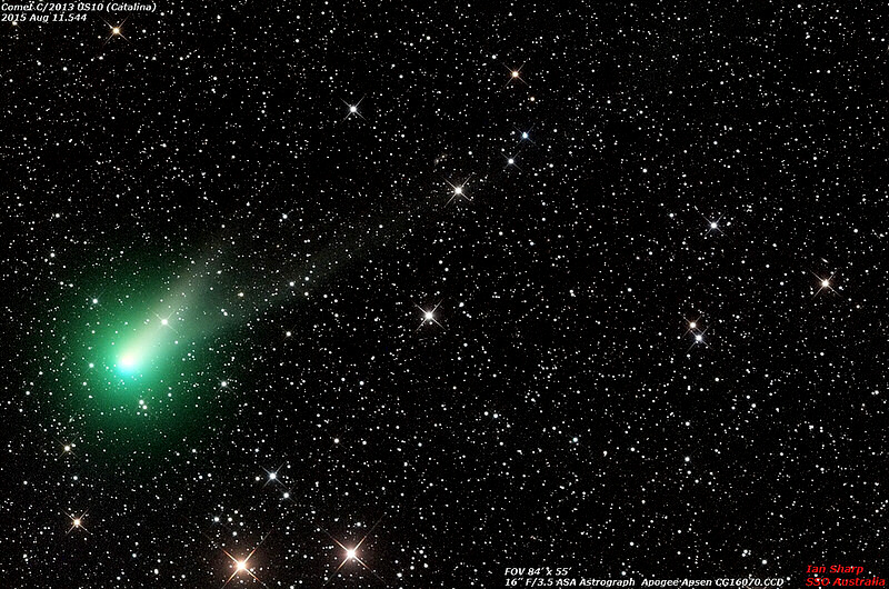 Comet Catalina glows green