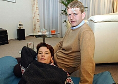 Corinne Rey-Bellet and her husband in a picture from 2002