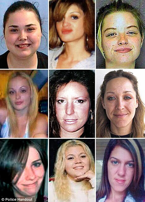 Victims: Top (L to R): Molly Jean Dilts, Shannan Gilbert and Tracy Ann Roberts; Middle (L to R): Melissa Barthelemy, Barbara Breidor and Kim Raffo; Bottom (L to R): Maureen Brainard-Barnes, Megan Waterman, Amber Lynn Costello