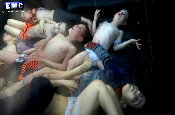 Dead children, victims of Assad's chemical attacks