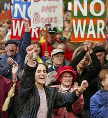 Demonstration in Portland, Oregon one of many throughout the world opposed to Bush's planned US war against Iraq