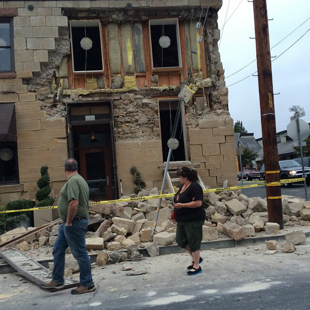 Downtown Napa in ruins