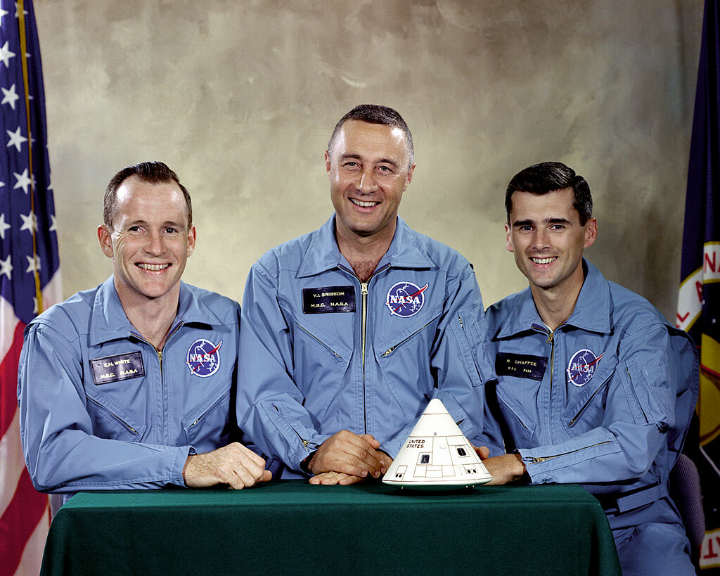 Apollo 1 crew: Edward H. White, Virgil I. Grissom, Roger B. Chaffee