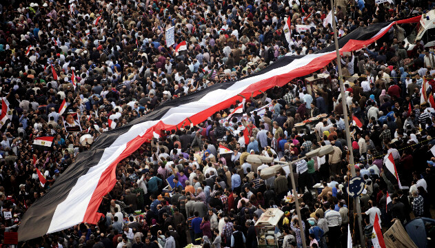 Egyptians carry national flag in mass rally against Mohamed Morsy