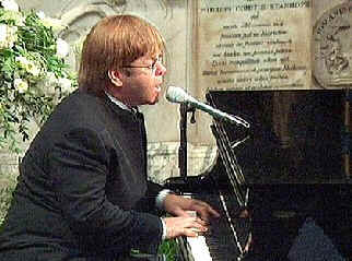 Elton John singing at Diana's funeral