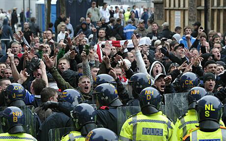 Members of the English Defence League (EDL) gather for a protest in Leicester city centre Photo: GETTY