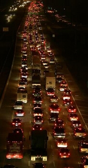 Traffic is backed up Wednesday as evacuees leave Houston, Texas, as Hurricane Rita approaches.