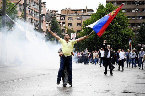Ethnic Serbs protest in the divided town of Mitrovica