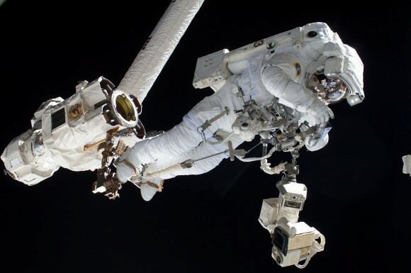 European Space Agency astronaut Luca Parmitano on a spacewalk