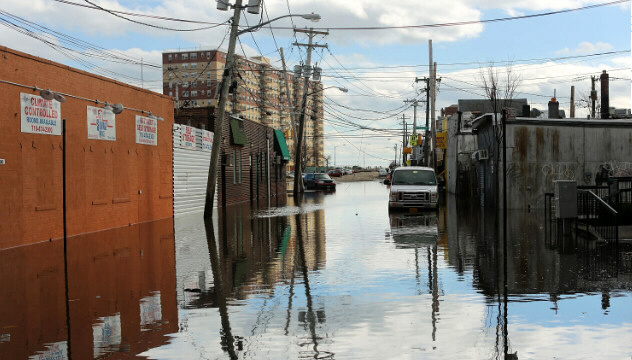 Flood-damaged streets in the Rockaway section of Queens