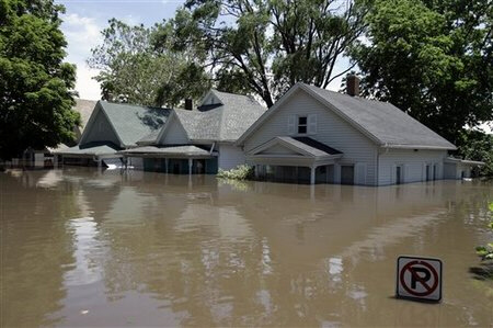 Flooded homes, June 13, 2008, in Cedar Rapids, Iowa